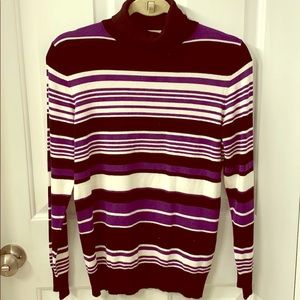 Striped wool turtleneck In purple black and white